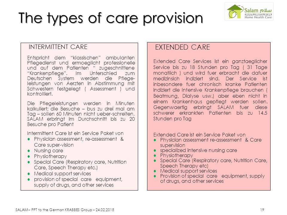 The types of care provision INTERMITTENT CARE Entspricht dem klassischen ambulanten Pflegedienst und ermoeglicht professionelle und auf dem Patienten zugeschnittene Krankenpflege .