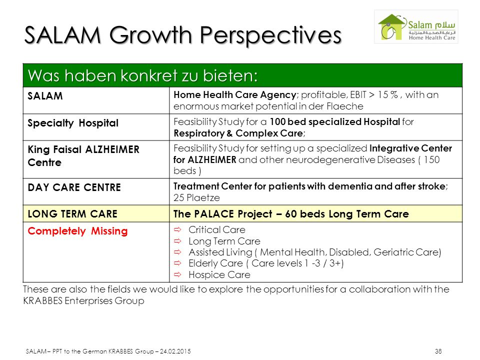 SALAM Growth Perspectives Was haben konkret zu bieten: SALAM Home Health Care Agency ; profitable, EBIT > 15 %, with an enormous market potential in d
