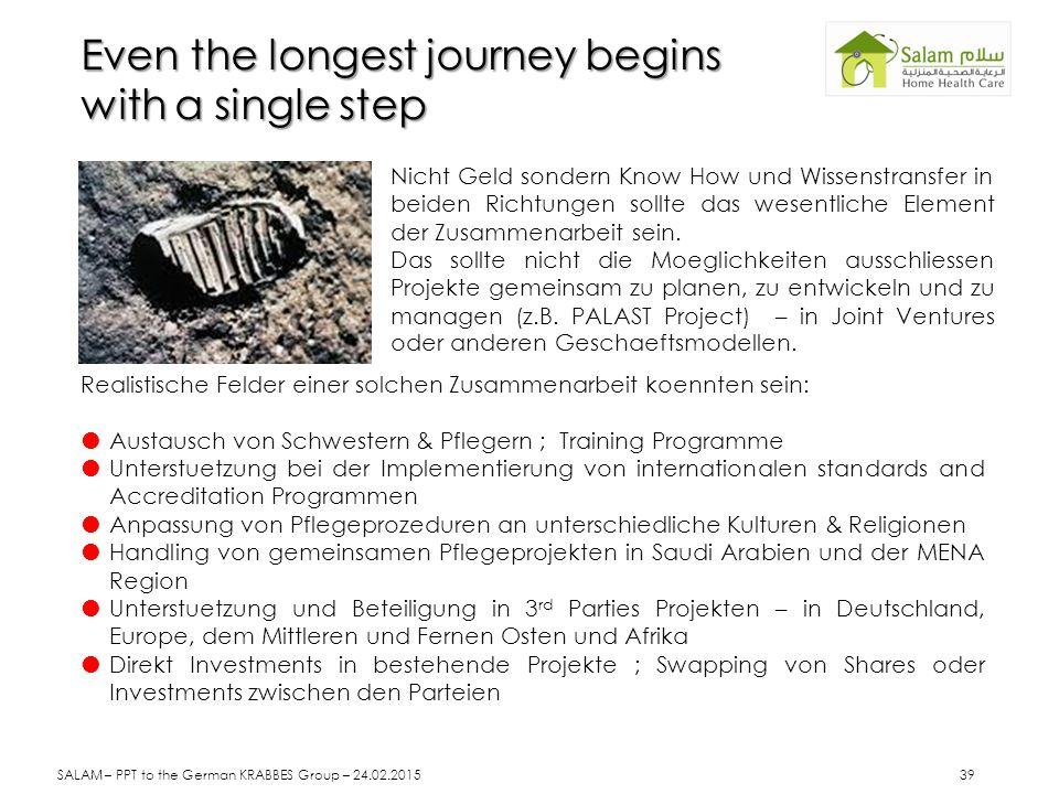 Even the longest journey begins with a single step Nicht Geld sondern Know How und Wissenstransfer in beiden Richtungen sollte das wesentliche Element der Zusammenarbeit sein.