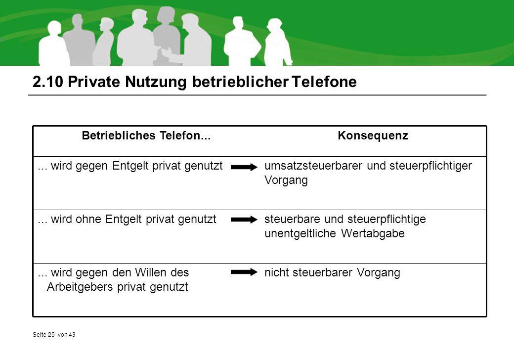 Seite 25 von 43 2.10 Private Nutzung betrieblicher Telefone nicht steuerbarer Vorgang... wird gegen den Willen des Arbeitgebers privat genutzt steuerb