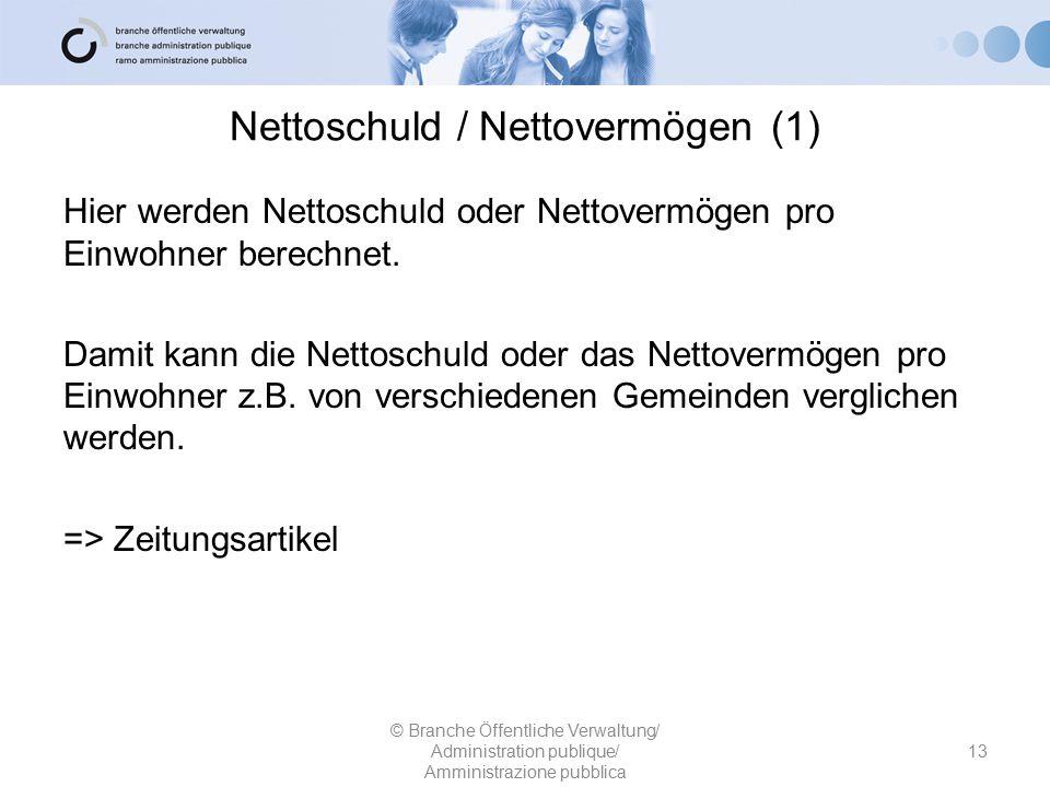 Nettoschuld / Nettovermögen (1) Hier werden Nettoschuld oder Nettovermögen pro Einwohner berechnet. Damit kann die Nettoschuld oder das Nettovermögen