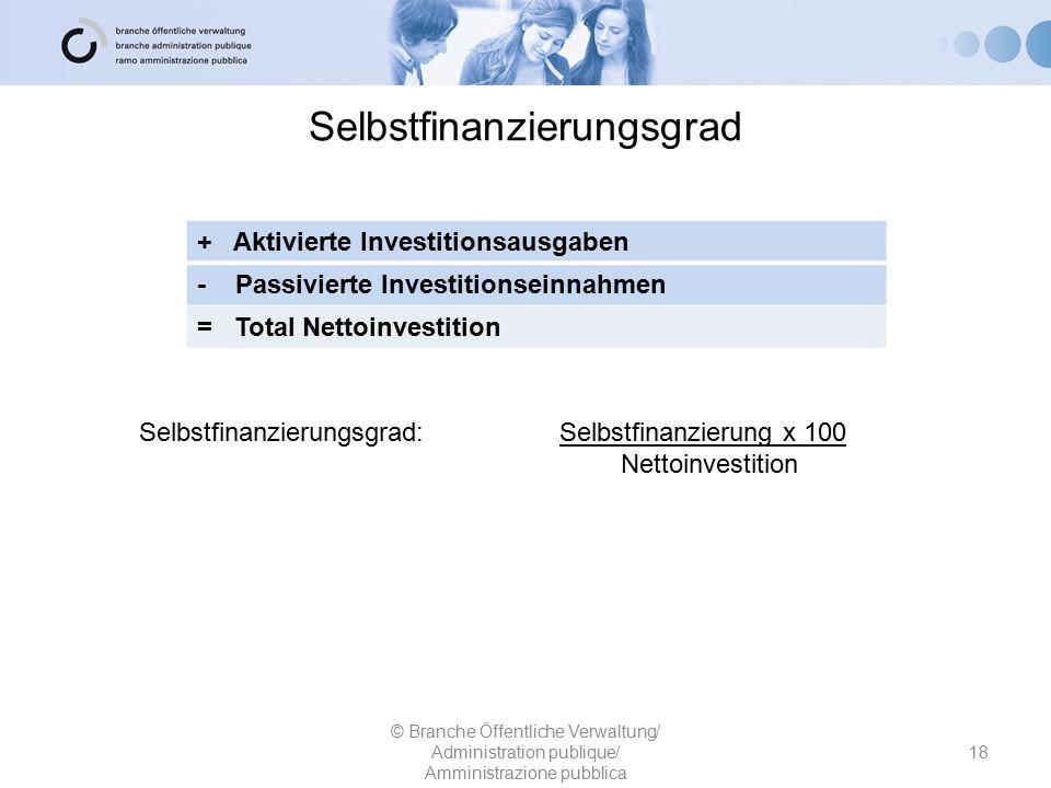 Selbstfinanzierungsgrad 18 © Branche Öffentliche Verwaltung/ Administration publique/ Amministrazione pubblica + Aktivierte Investitionsausgaben - Pas