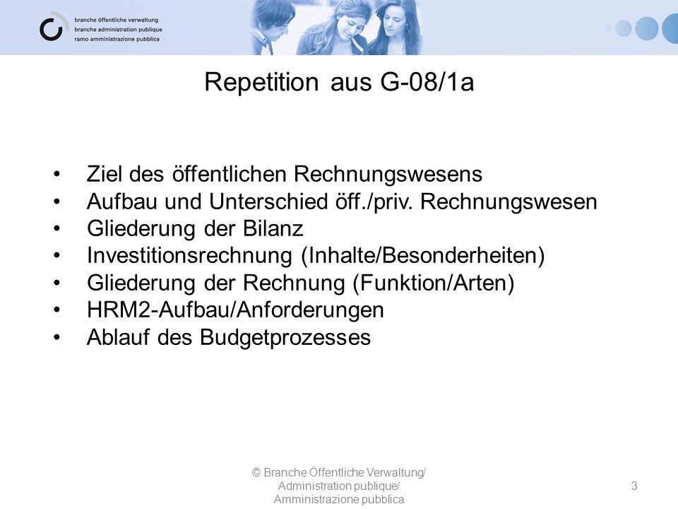 Repetition aus G-08/1a 3 © Branche Öffentliche Verwaltung/ Administration publique/ Amministrazione pubblica Ziel des öffentlichen Rechnungswesens Auf