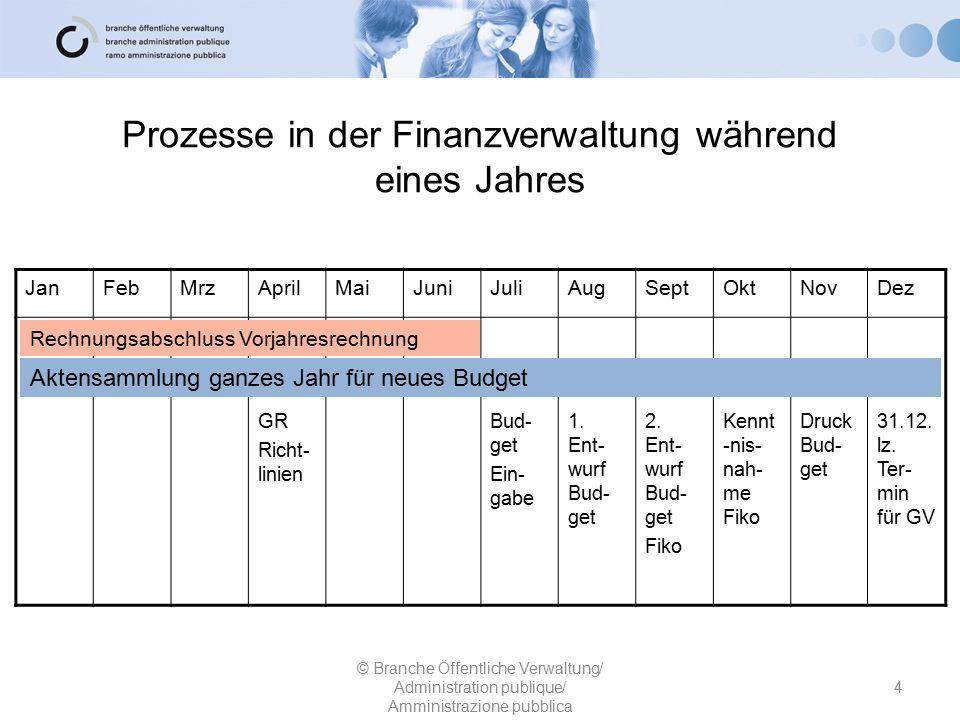 Prozesse in der Finanzverwaltung während eines Jahres 4 © Branche Öffentliche Verwaltung/ Administration publique/ Amministrazione pubblica JanFebMrzA
