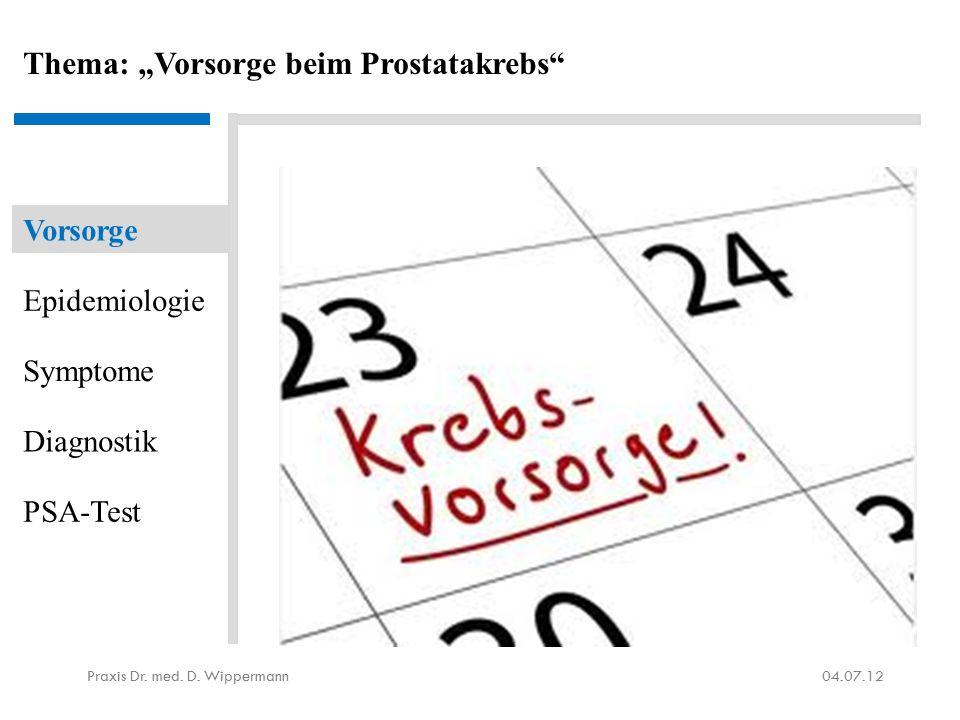 """Thema: """"Vorsorge beim Prostatakrebs"""" 04.07.12Praxis Dr. med. D. Wippermann Vorsorge Epidemiologie Symptome Diagnostik PSA-Test Quelle: Google Images."""