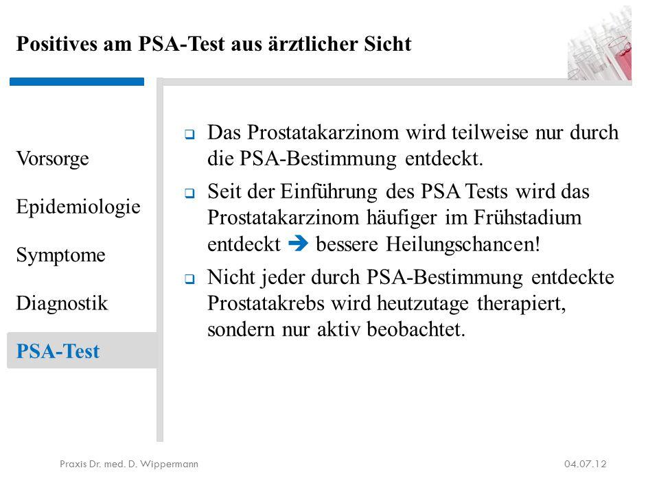 Positives am PSA-Test aus ärztlicher Sicht  Das Prostatakarzinom wird teilweise nur durch die PSA-Bestimmung entdeckt.  Seit der Einführung des PSA