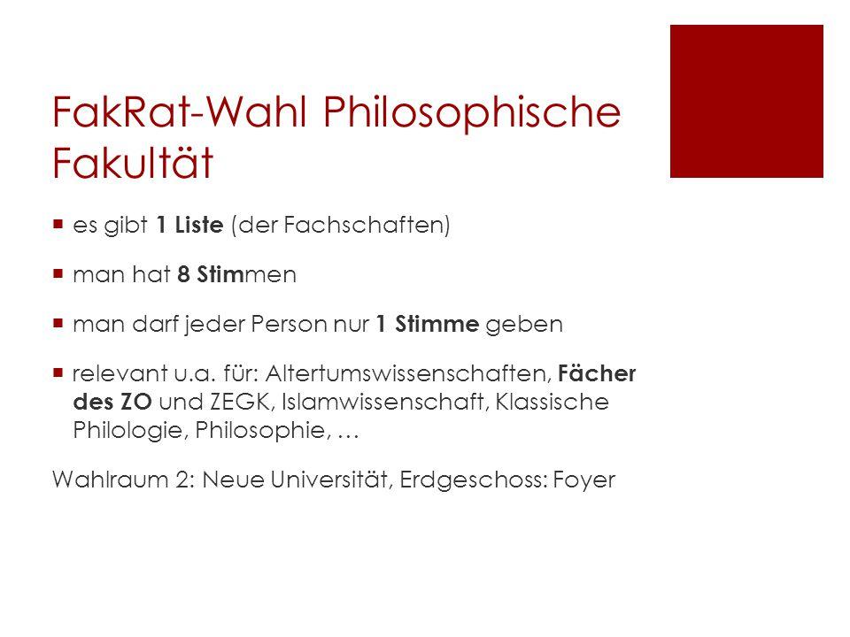 FakRat-Wahl Philosophische Fakultät  es gibt 1 Liste (der Fachschaften)  man hat 8 Stim men  man darf jeder Person nur 1 Stimme geben  relevant u.a.