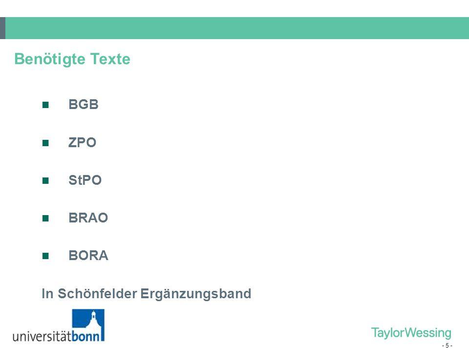 - 5 - Benötigte Texte BGB ZPO StPO BRAO BORA In Schönfelder Ergänzungsband