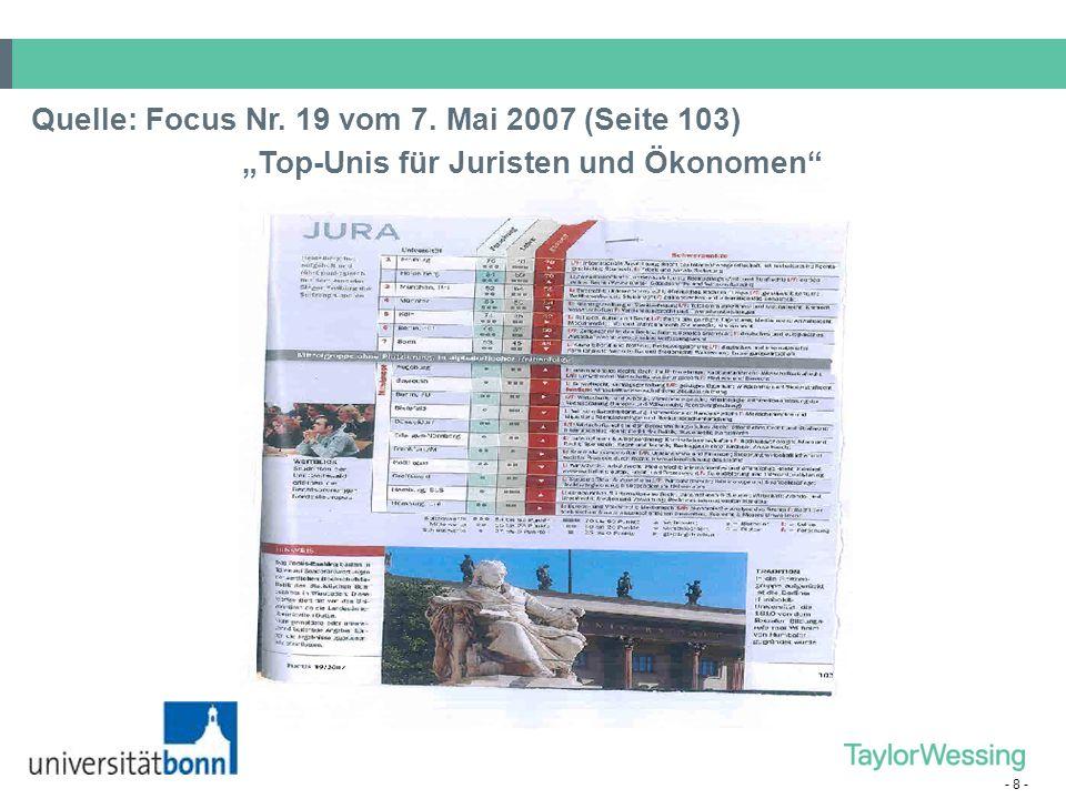 """- 8 - Quelle: Focus Nr. 19 vom 7. Mai 2007 (Seite 103) """"Top-Unis für Juristen und Ökonomen"""""""