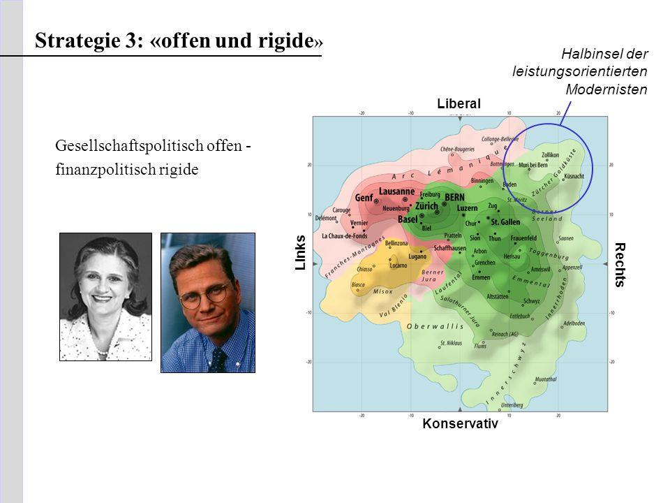 soziokultureller Konflikt FDP SVP Liberal Konservativ Rechts Links Halbinsel der leistungsorientierten Modernisten Strategie 3: «offen und rigide » Ge