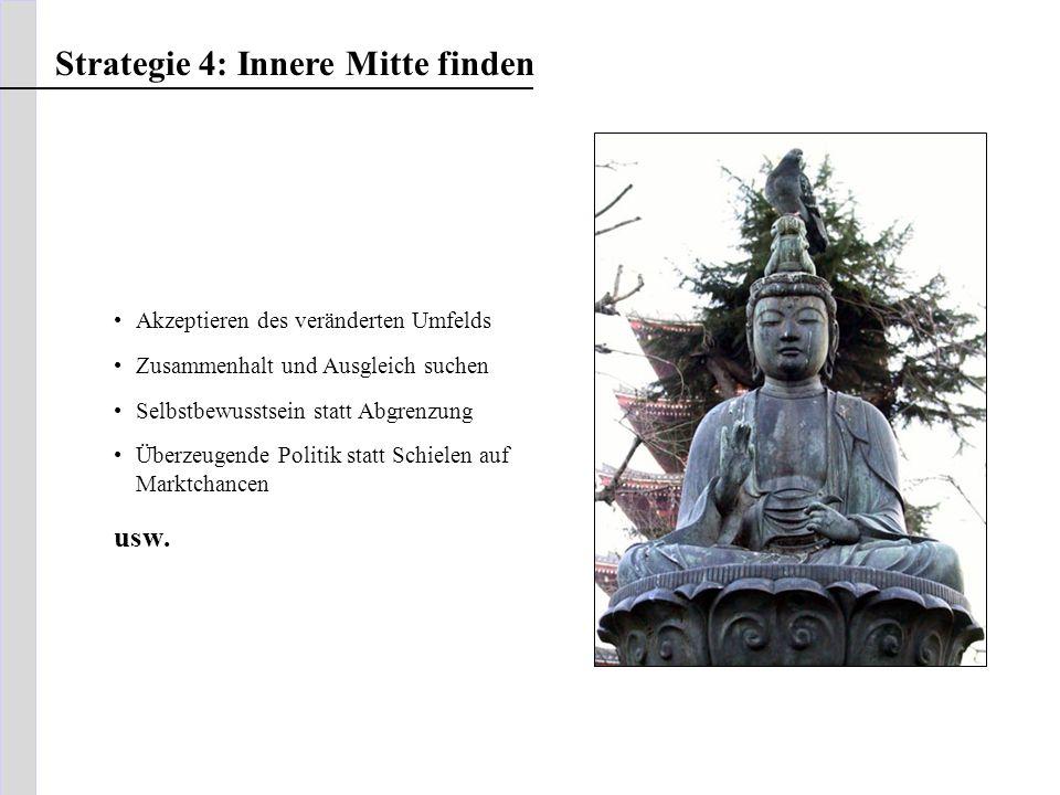 Strategie 4: Innere Mitte finden Akzeptieren des veränderten Umfelds Zusammenhalt und Ausgleich suchen Selbstbewusstsein statt Abgrenzung Überzeugende