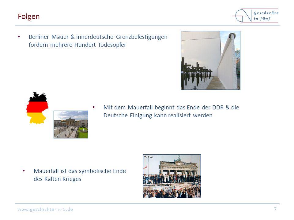 www.geschichte-in-5.de Folgen Berliner Mauer & innerdeutsche Grenzbefestigungen fordern mehrere Hundert Todesopfer 7 Mit dem Mauerfall beginnt das End