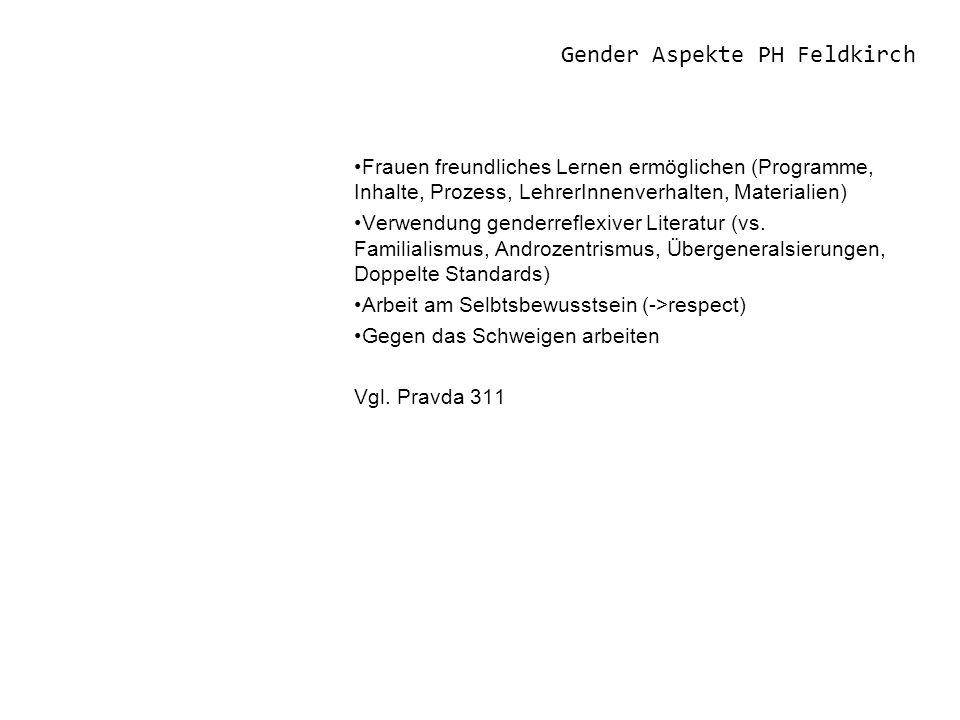 Gender Aspekte PH Feldkirch Frauen freundliches Lernen ermöglichen (Programme, Inhalte, Prozess, LehrerInnenverhalten, Materialien) Verwendung genderreflexiver Literatur (vs.