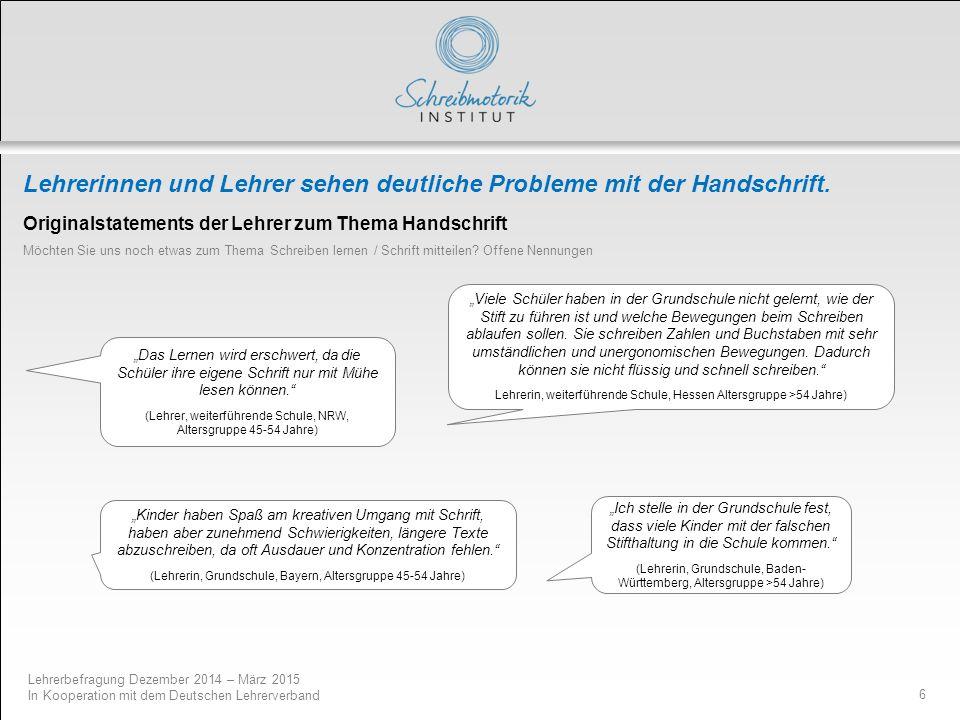 Lehrerbefragung Dezember 2014 – März 2015 In Kooperation mit dem Deutschen Lehrerverband 6 Lehrerinnen und Lehrer sehen deutliche Probleme mit der Han