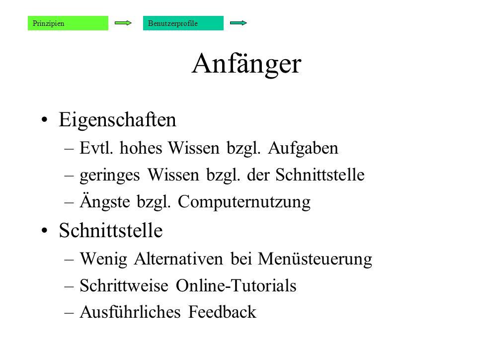 Beispiel: Einstellung eines Zeitintervalls Welches Interface ist besser ? Empfehlungen