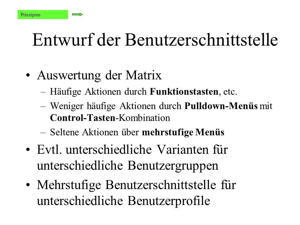 Entwurf der Benutzerschnittstelle Auswertung der Matrix –Häufige Aktionen durch Funktionstasten, etc.