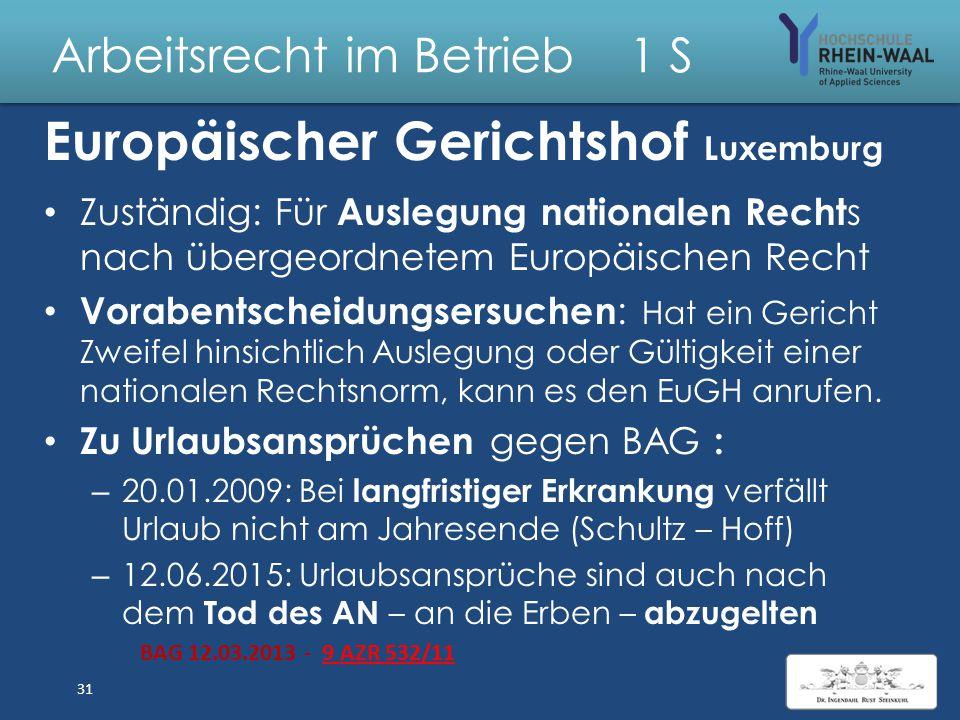 Arbeitsrecht im Betrieb 1 S Arbeitsrecht Europäische Union EU-Politik darauf ausgerichtet – hohe Beschäftigungsraten und starken Sozialschutz zu erreichen, – die Lebens- + Arbeitsbedingungen zu verbessern, – den sozialen Zusammenhalt zu gewährleisten Ziele: – Sozialen Fortschritt zu fördern und – Lebens- + Beschäftigungsbedingungen zu verbessern 30