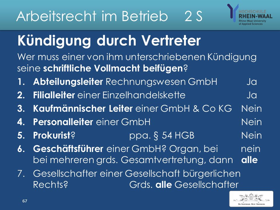 Arbeitsrecht im Betrieb 2 S Unterzeichnung der Kündigung weder – durch offenkundig Bevollmächtigten des Arbeitgebers ( insbes.