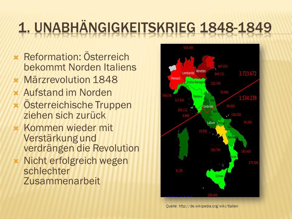  Reformation: Österreich bekommt Norden Italiens  Märzrevolution 1848  Aufstand im Norden  Österreichische Truppen ziehen sich zurück  Kommen wieder mit Verstärkung und verdrängen die Revolution  Nicht erfolgreich wegen schlechter Zusammenarbeit Quelle: http://de.wikipedia.org/wiki/Italien