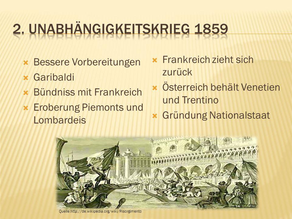  Bessere Vorbereitungen  Garibaldi  Bündniss mit Frankreich  Eroberung Piemonts und Lombardeis  Frankreich zieht sich zurück  Österreich behält Venetien und Trentino  Gründung Nationalstaat Quelle:http://de.wikipedia.org/wiki/Risorgimento