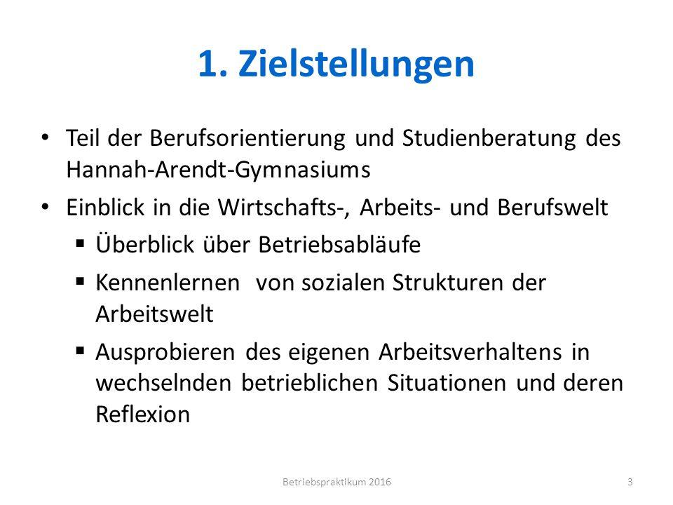 1. Zielstellungen Teil der Berufsorientierung und Studienberatung des Hannah-Arendt-Gymnasiums Einblick in die Wirtschafts-, Arbeits- und Berufswelt 