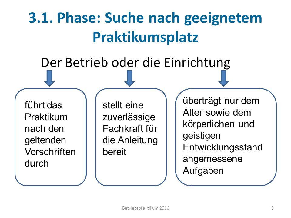 3.1. Phase: Suche nach geeignetem Praktikumsplatz Der Betrieb oder die Einrichtung führt das Praktikum nach den geltenden Vorschriften durch stellt ei