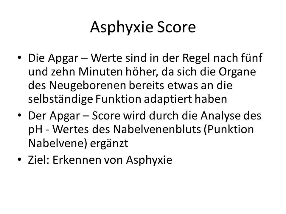 Asphyxie Score Die Apgar – Werte sind in der Regel nach fünf und zehn Minuten höher, da sich die Organe des Neugeborenen bereits etwas an die selbstän