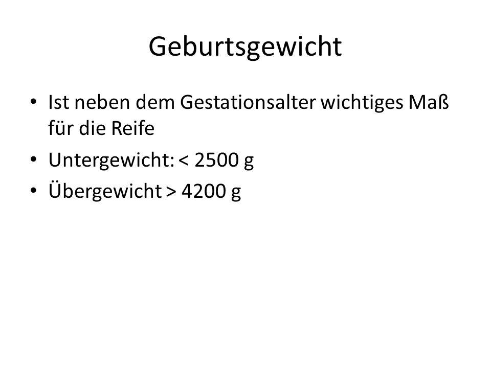Geburtsgewicht Ist neben dem Gestationsalter wichtiges Maß für die Reife Untergewicht: < 2500 g Übergewicht > 4200 g