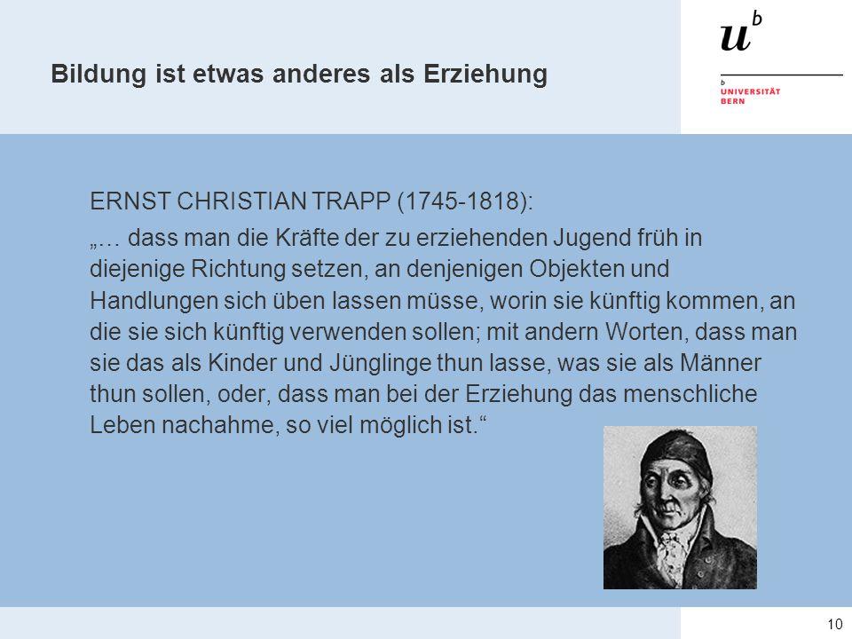 """Bildung ist etwas anderes als Erziehung ERNST CHRISTIAN TRAPP (1745-1818): """"… dass man die Kräfte der zu erziehenden Jugend früh in diejenige Richtung"""