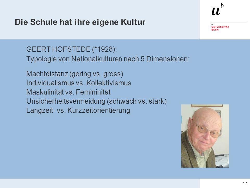 Die Schule hat ihre eigene Kultur GEERT HOFSTEDE (*1928): Typologie von Nationalkulturen nach 5 Dimensionen: Machtdistanz (gering vs. gross) Individua