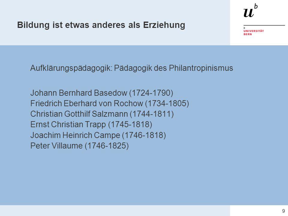 Aufklärungspädagogik: Pädagogik des Philantropinismus Johann Bernhard Basedow (1724-1790) Friedrich Eberhard von Rochow (1734-1805) Christian Gotthilf Salzmann (1744-1811) Ernst Christian Trapp (1745-1818) Joachim Heinrich Campe (1746-1818) Peter Villaume (1746-1825) 9