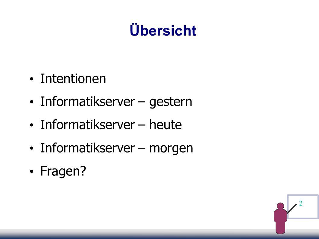 2 Übersicht Intentionen Informatikserver – gestern Informatikserver – heute Informatikserver – morgen Fragen
