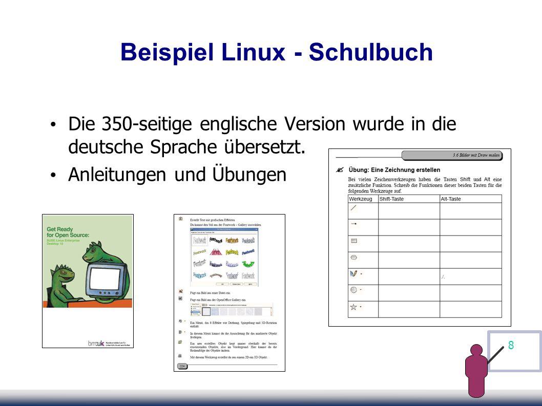 8 Beispiel Linux - Schulbuch Die 350-seitige englische Version wurde in die deutsche Sprache übersetzt.