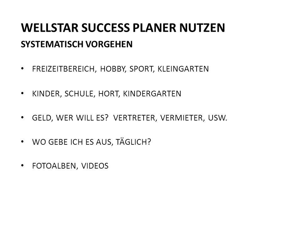 WELLSTAR SUCCESS PLANER NUTZEN SYSTEMATISCH VORGEHEN FREIZEITBEREICH, HOBBY, SPORT, KLEINGARTEN KINDER, SCHULE, HORT, KINDERGARTEN GELD, WER WILL ES.