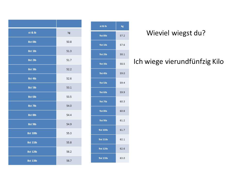 st & lbkg 8st 0lb50.8 8st 1lb51.3 8st 2lb51.7 8st 3lb52.2 8st 4lb52.6 8st 5lb53.1 8st 6lb53.5 8st 7lb54.0 8st 8lb54.4 8st 9lb54.9 8st 10lb55.3 8st 11l