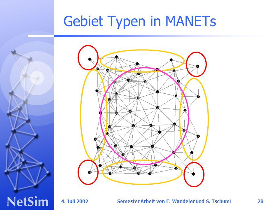 4. Juli 2002 Semester Arbeit von E. Wandeler und S. Tschumi28 Gebiet Typen in MANETs