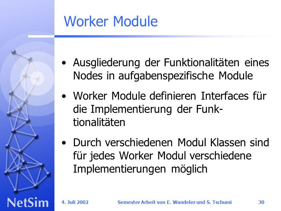 4. Juli 2002 Semester Arbeit von E. Wandeler und S.