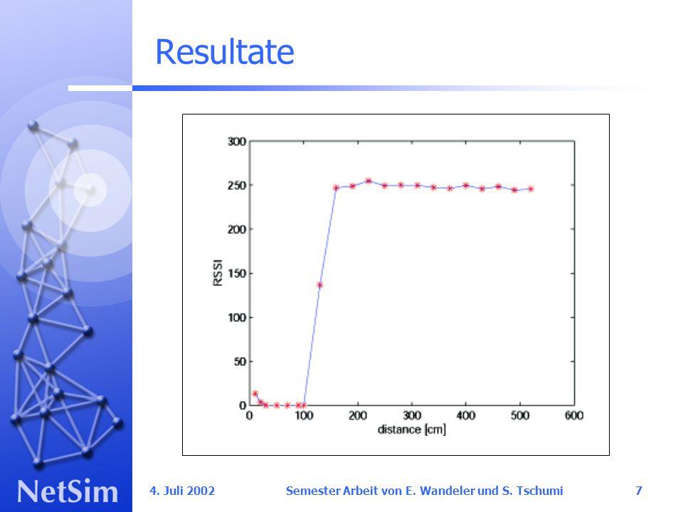 4. Juli 2002 Semester Arbeit von E. Wandeler und S. Tschumi7 Resultate