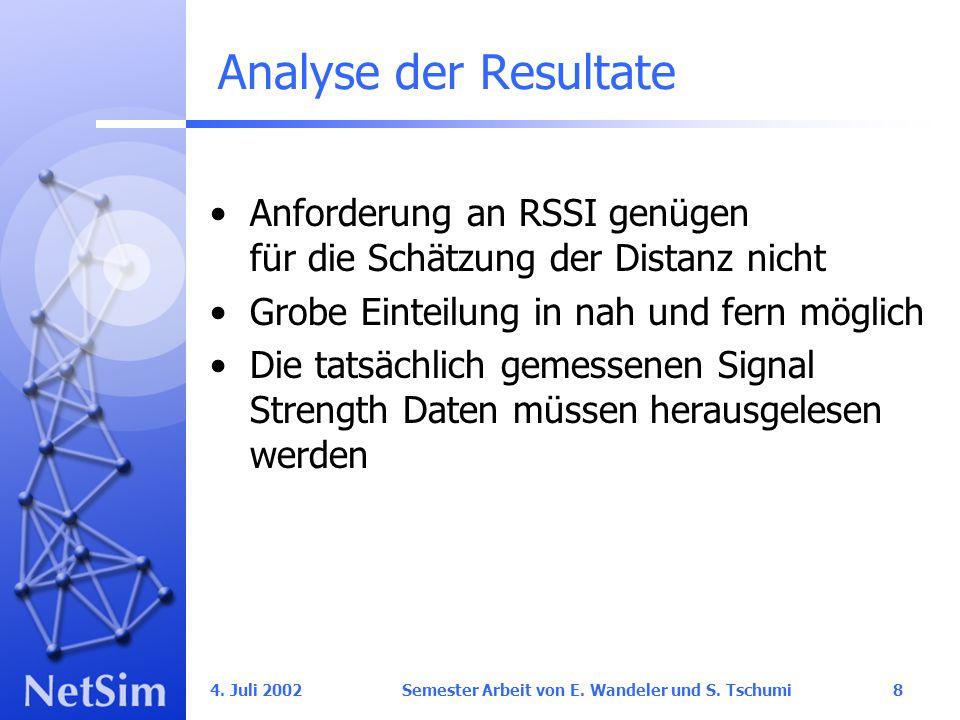 4. Juli 2002 Semester Arbeit von E. Wandeler und S. Tschumi29 Outlook