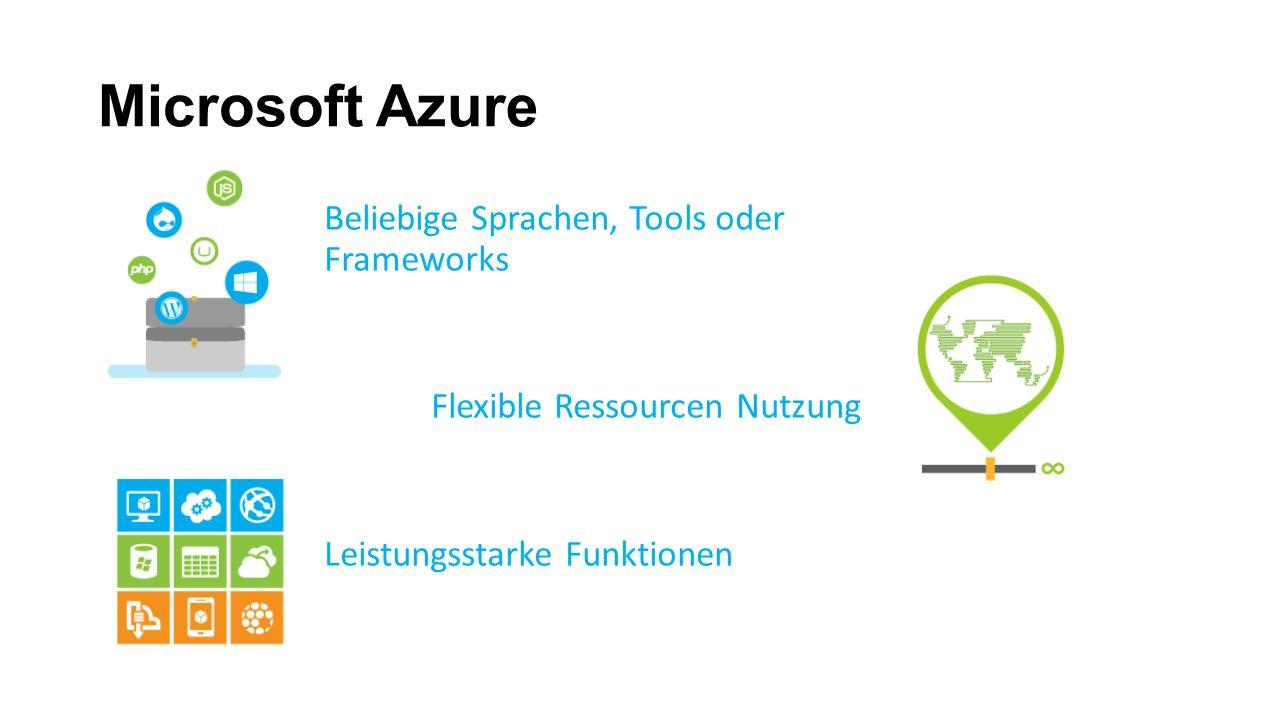 Microsoft Azure Beliebige Sprachen, Tools oder Frameworks Flexible Ressourcen Nutzung Leistungsstarke Funktionen