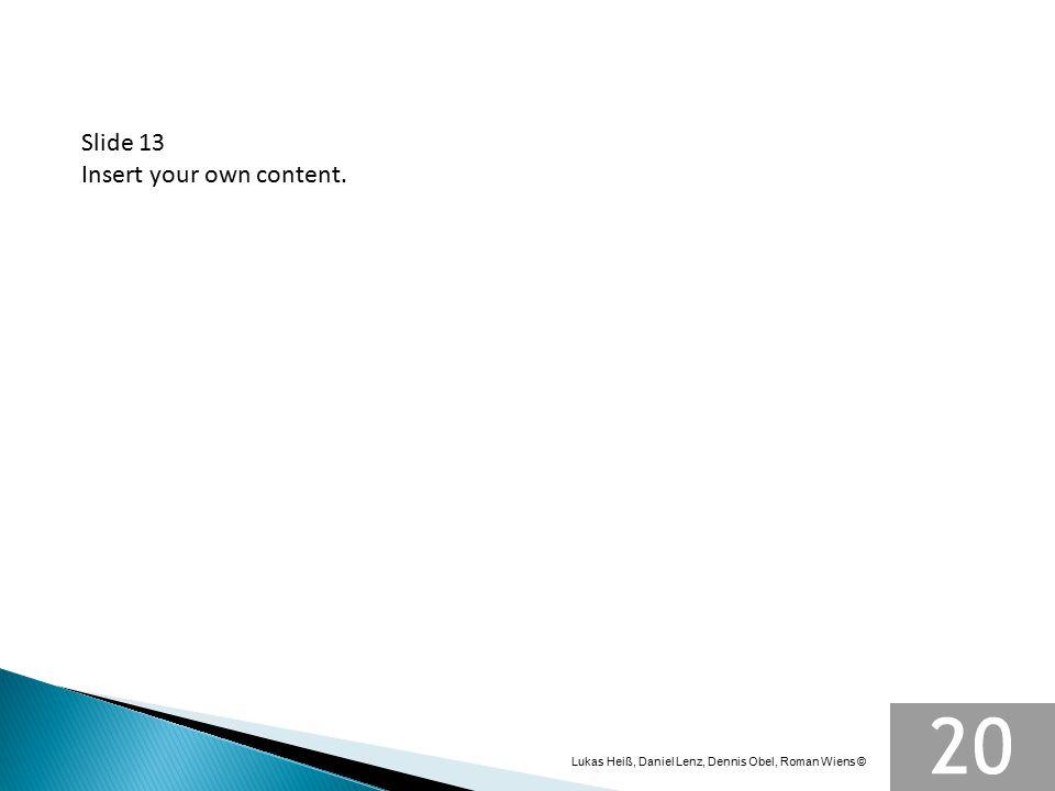 Slide 13 Insert your own content. Lukas Heiß, Daniel Lenz, Dennis Obel, Roman Wiens ©