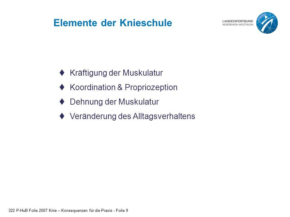 Elemente der Knieschule 322 P-HuB Folie 2007 Knie – Konsequenzen für die Praxis - Folie 9  Kräftigung der Muskulatur  Koordination & Propriozeption  Dehnung der Muskulatur  Veränderung des Alltagsverhaltens