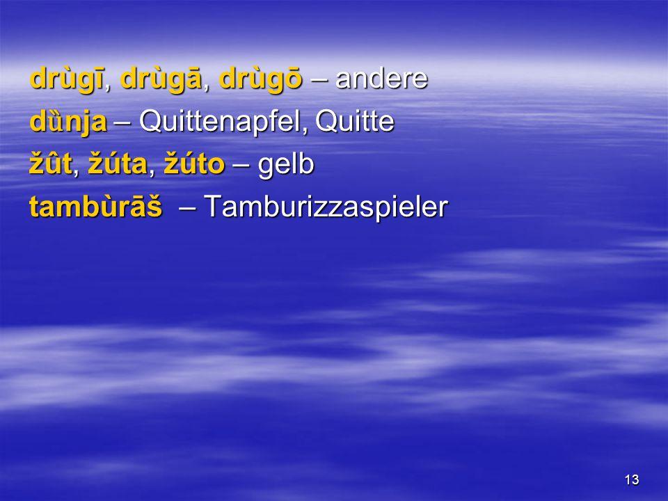 13 drùgī, drùgā, drùgō – andere d ȕ nja – Quittenapfel, Quitte žût, žúta, žúto – gelb tambùrāš – Tamburizzaspieler