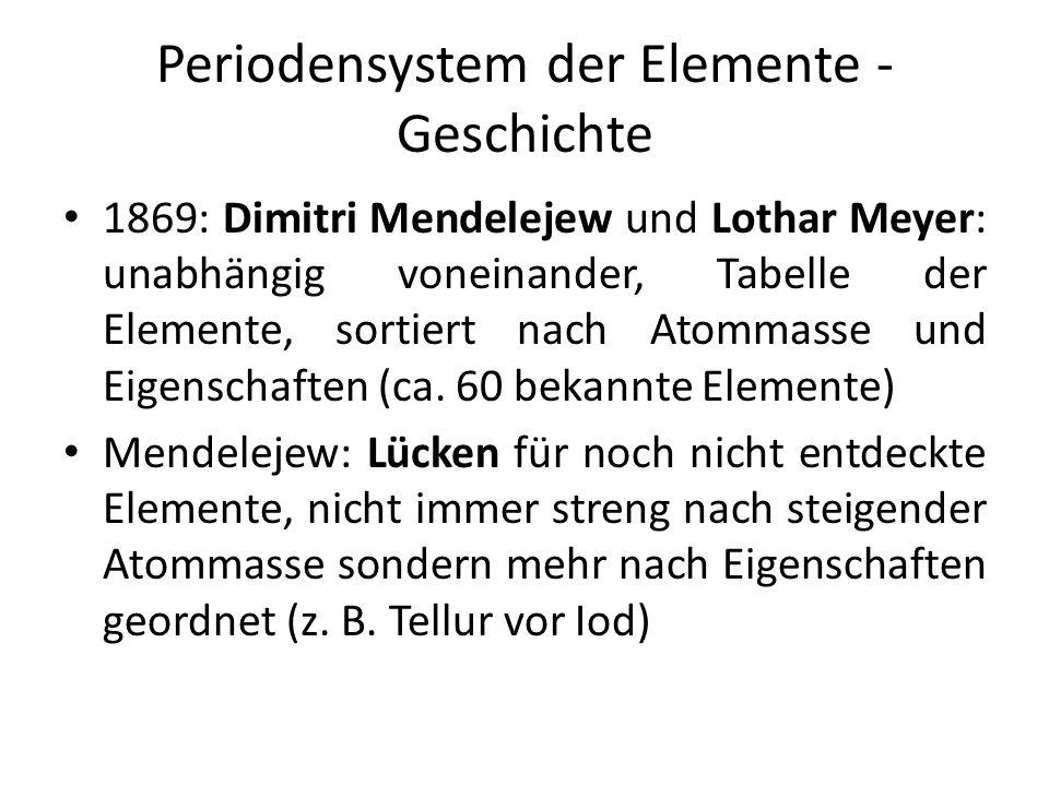 Periodensystem der Elemente - Geschichte 1869: Dimitri Mendelejew und Lothar Meyer: unabhängig voneinander, Tabelle der Elemente, sortiert nach Atomma