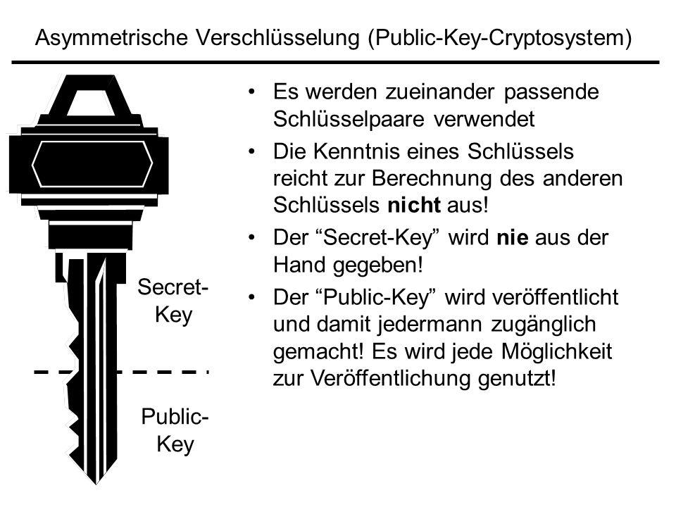 Asymmetrische Verschlüsselung (Public-Key-Cryptosystem) Secret- Key Public- Key Es werden zueinander passende Schlüsselpaare verwendet Die Kenntnis ei