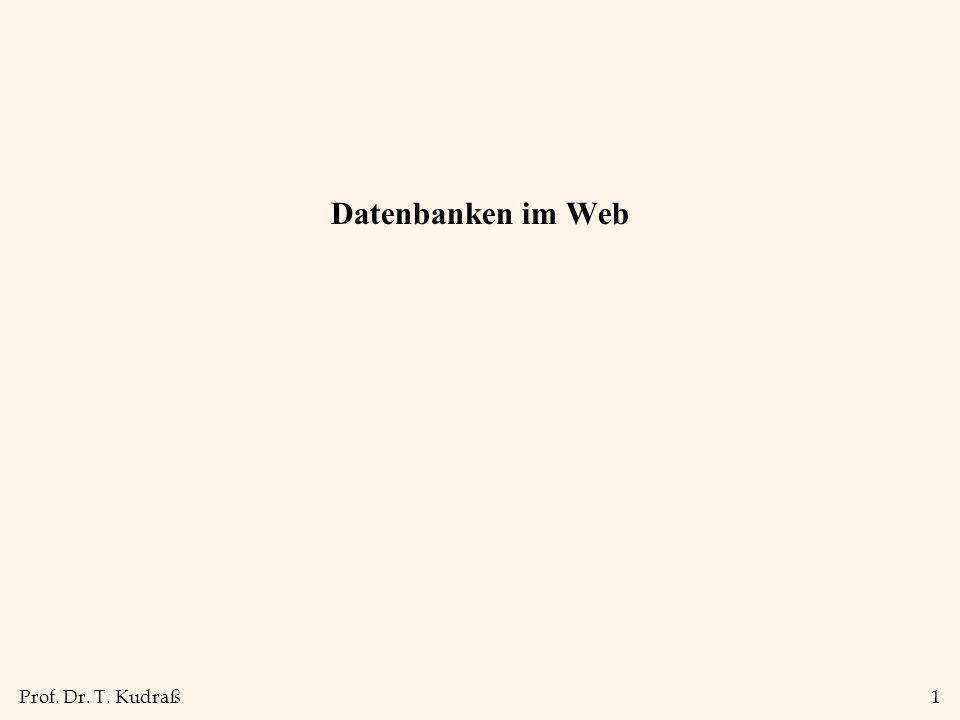 Prof. Dr. T. Kudraß1 Datenbanken im Web