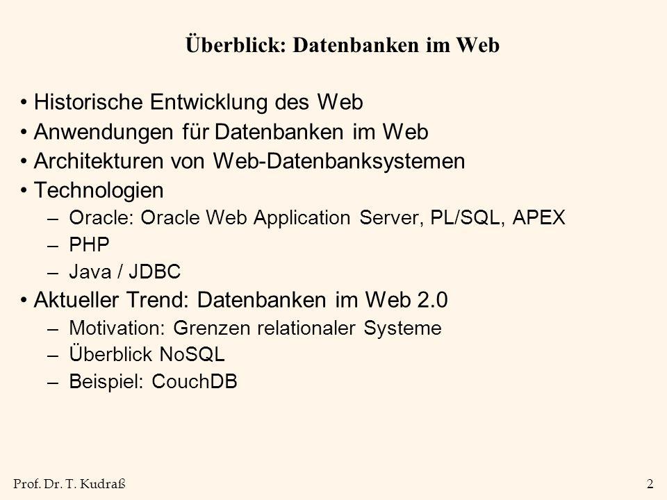 Prof. Dr. T. Kudraß2 Überblick: Datenbanken im Web Historische Entwicklung des Web Anwendungen für Datenbanken im Web Architekturen von Web-Datenbanks