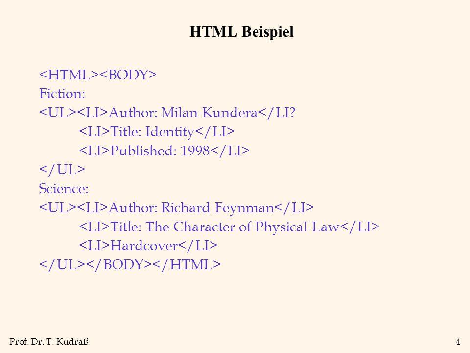Prof. Dr. T. Kudraß4 HTML Beispiel Fiction: Author: Milan Kundera</LI? Title: Identity Published: 1998 Science: Author: Richard Feynman Title: The Cha