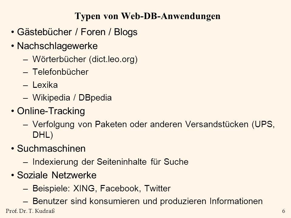 Prof. Dr. T. Kudraß6 Typen von Web-DB-Anwendungen Gästebücher / Foren / Blogs Nachschlagewerke –Wörterbücher (dict.leo.org) –Telefonbücher –Lexika –Wi