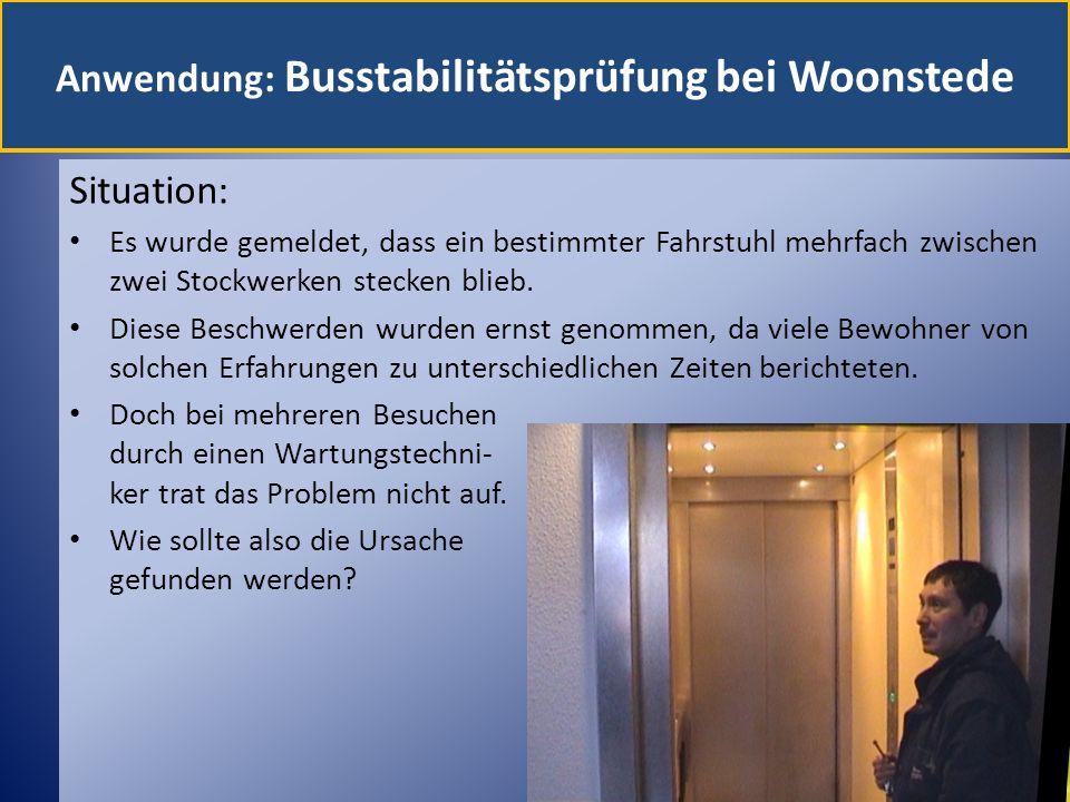 Anwendung: Busstabilitätsprüfung bei Woonstede Situation: Es wurde gemeldet, dass ein bestimmter Fahrstuhl mehrfach zwischen zwei Stockwerken stecken blieb.